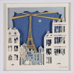 """Tableau """"Paris la nuit"""" 25x25 cm - Cadre en bois"""