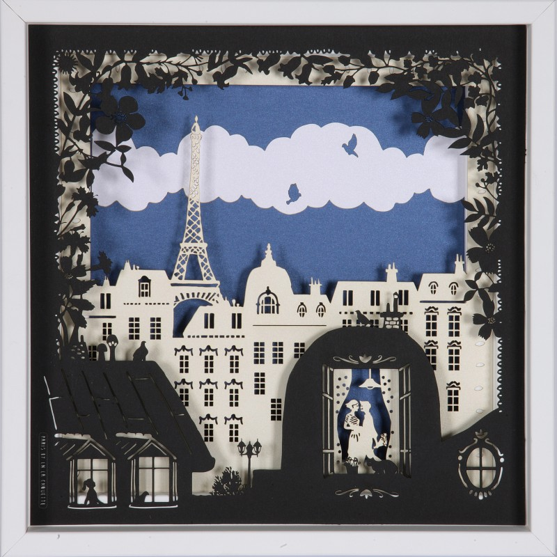 tableau les toits de paris 25x25 cm cadre bois papier d coup laser. Black Bedroom Furniture Sets. Home Design Ideas
