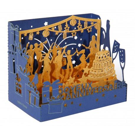 """Carte """"JOYEUX ANNIVERSAIRE - GÂTEAU"""" 3D"""