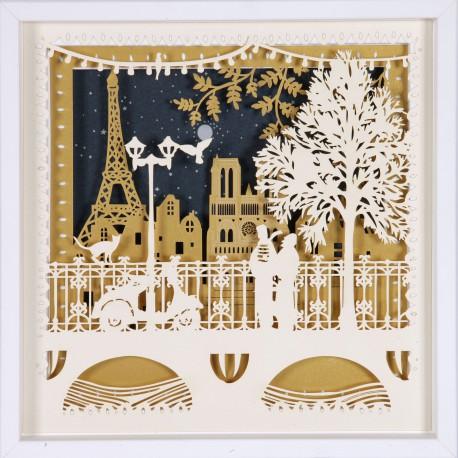 tableau le pont de paris 25x25 cm cadre bois papier d coup laser. Black Bedroom Furniture Sets. Home Design Ideas
