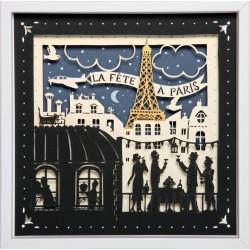 """Tableau """"La fête à Paris"""" 25x25 cm - cadre en bois"""