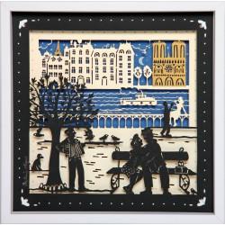 """Tableau """"Les Bords de Seine"""" 25x25 cm - cadre en bois"""