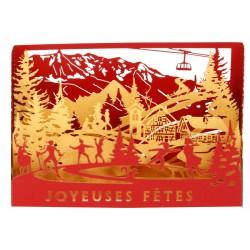 """Mini-Vitrine Joyeuses Fêtes """" Skieurs et patineurs"""" - 120 mm"""