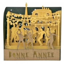 "Mini-Vitrine Bonne Année "" La Fête"" - 90mm"