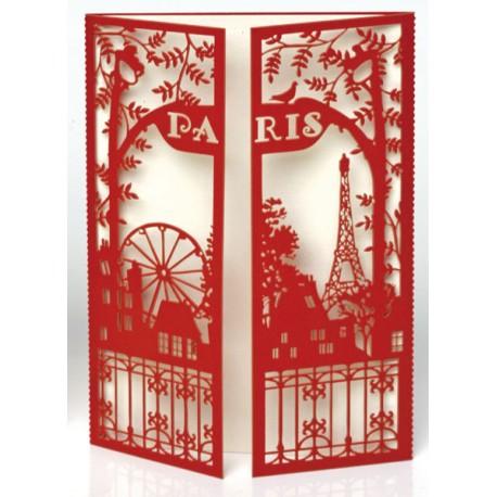 """Carte 10,5x15 cm \""""Portes Paris\"""" - Rouge"""