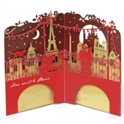 "Carte pop-up ""Pont de Paris"" - rouge"