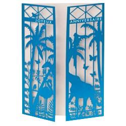 """Carte 10,5x15 cm """"Portes Animaux"""" - Joyeux anniversaire - Bleue"""